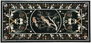 48 X 24 Black Marble Dining Table Top Gems Inlay Patio Home Decor