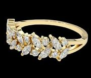 18k Solid Gold Two Rows Marquise Cut Diamond Engagement Ring / Christmas Gift