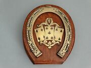 Antique English Equestrian Horseshoe Cribbage Game Oak And Brass