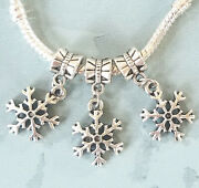 12 Snowflakes Charms - Large Hole Beads - European Style Lot Fits Diy Bracelets