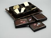 Antique English Games Box Bone Gaming Counters Bezique, Poker, Whist