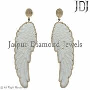 Natural Pave Diamond 14k Yellow Gold Angel Wings Carving Dangle Earrings Jewelry