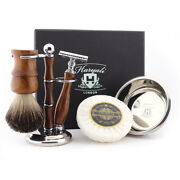 5pc Wooden Mens Shaving Kit Double Edge Safety Razor, Brush, Stand, Soap And Bowl