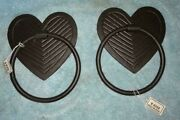 2 Cast Iron Rustic Hearts Door Pull Knockers - 5 Ring - 7 Total