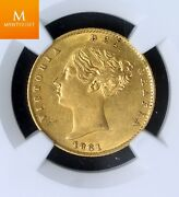 1861 Great Britain 1/2 Sovereign Ngc Au58