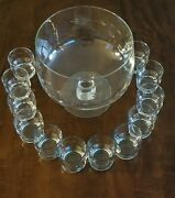 Princess House Heritages Punch Bowl With 12 Glasses 13 Pieces Total No Ladle