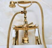 Polished Gold Brass Tub Mount Clawfoot Bathtub Faucet With Hose And Spray Yna141