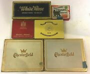 Lot Of 6 Empty Vintage Cigarette And White Rose Tea Tins Free Shipping