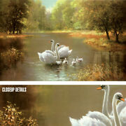 54wx34h Swan Family By Max Weber Landscape Geece Ducks Birds Choices Of Canvas