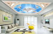 3d Blue Sky White Dove Angel Ceiling Mural Self-adhesive Removable 219
