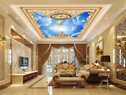 3d Blue Sky Angel Floral Ceiling Mural Self-adhesive Removable Wallpaper 312