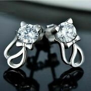 1.50 Ct White Round Cut 935 Argentium Silver Bow Kitty Cat Womenand039s Stud Earring