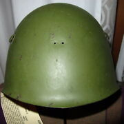 Wwii Italian Combat Helmet With Liner M33 Ww2 With Damage