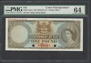 Fiji One Dollar Nd 1954-67 P53cts Specimen Color Trial Uncirculated