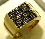 Mr054 Genuine 9k Or 18k Gold Natural Sapphire Mens Large Pave Ring In Yr Size