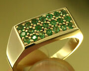 R153 Genuine 9ct Or 18k Gold Natural Emerald Mens Pave Signet Ring In Your Size