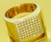 Mr054 Genuine 9k Or 18k Gold Natural Diamond Mens Large Pave Ring In Yr Size