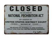 Metal Bar Signs Closed For Violation Of National Prohibition Act Metal Tin Sign