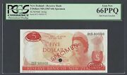 New Zealand Five Dollars Nd1967-68 P165as Specimen Tdlr Uncirculated