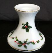 Lefton China Christmas Holly Berry Candle Stick Holder Hand Painted 03052 Gold