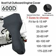 For 6 - 225hp Motor Black Boat Full Outboard Engine Cover Waterproof 600d Oxford