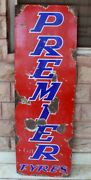 Vintage Old Collectible Premier Tyre 54and039and039 X 18 Porcelain Enamel Adv Sign Board