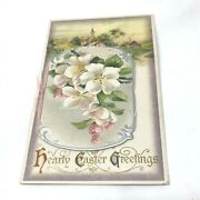 Winsch Easter Postcard C1910 Fold Out Card Silver Gold Embossing Pretty Flowers