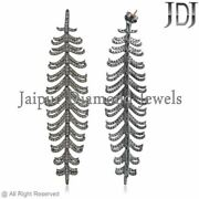 Vintage Style Leaf Dangle Earrings Genuine Pave Diamond 925 Silver Jewelry Gifts