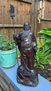 Chinese 19th Century Hardwood Statue Of Bearded Warrior With Seal Mark