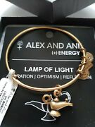 Retired Alex And Ani Lamp Of Light Gold Tone Bracelet New With Tags Card And Box