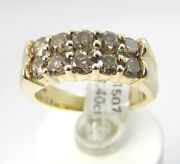 Genuine 1.40 Ctw Brown Diamond 10ky Gold Ring Size 7.5 Certificate Rrp 5200