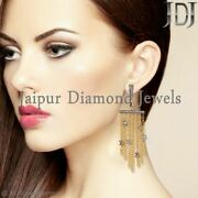 Natural Diamond Pave Chandelier Earrings 925 Silver Vintage Style Jewelry Gifts