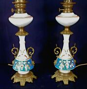A Wonderful Pair Of Victorian Aesthetic Porcelain Oil Lamps-now Electric