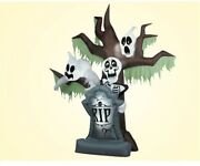 Halloween Inflatable Grave Scene Skeletons Ghosts On Dead Tree With Tombstone Gc