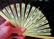 Antique Victorian Carved Pierced Black Lace Hand Fan Eventail