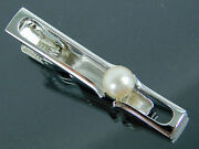 Authentic Mikimoto Sterling Silver And 6mm Genuine Akoya Pearl Tie Bar Clip Clasp