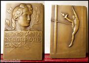 Art Medal Bronze Plaque Mens Corpore Sano High Jump Physical Training By Mery