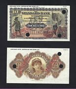 Rhodesia Face And Back 10 Shillings Nd1917-38 Ps146s Specimen Uncirculated
