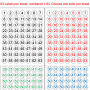 Number 1-63 Or 64-126 Sequentially Numbered Stickers 1 Round Circle Label Color