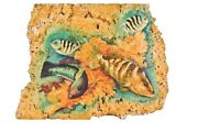 Vintage 1980s Joan Purcell Florida Keys Tropical Fish Painting On Coral Rock