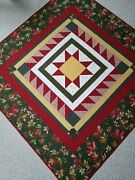 Christmas Traditions Handmade Quilt, Rich Reds, 100 Cotton, Machine Quilted