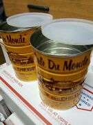 Lot Of 2 Empty Cafe Du Monde Coffee Cans Containers W/lids, Storage Non Vintage