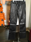 Chrome Hearts Size 2 Black Leather Flat Front Womenand039s Pants 2400-331-12519
