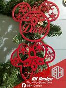 Personalized Christmas Tree Ornaments Bauble With Name , Mickey And Minnie Style