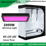 2000w Led Grow Light Veg Flower Plant +4and039x2and039 Hydroponic Indoor Grow Tent Kit