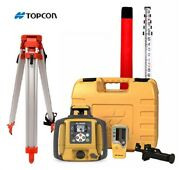 Topcon Rl-sv2s Dual Slope Rotary Laser Level Tripod 16and039 Grade Rod 10ths
