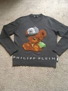Philipp Plein Cashmere Men's Sweater Christmas Gift Size L Gray Made In Italy