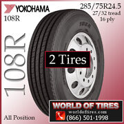 Yokohama 108r 2 Commercial Tires 285/75r24.5 With Free Shipping
