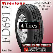 Firestone Fd691 4 Commercial Tires 285/75r24.5 With Free Shipping