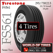 Firestone Fs561 4 Commercial Tires 295/75r22.5 With Free Shipping
